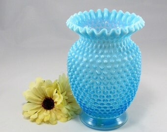 "Beautiful Vintage FENTON Hobnail Blue Opalescent Large 8"" Tall VASE with Ruffled Edge.  The Fenton Vase is  # 3858  made in the 1940's."