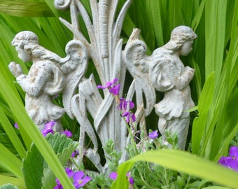 Architectural Salvage Angel garden ornament vintage french cast iron angels fairy antique gothic revival 1800s Napoleon 3 era shabby angel