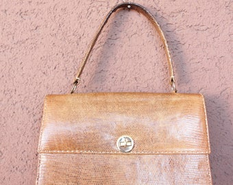 1940's Beige / Yellow Lizard Bag - 40's Exotic Leather