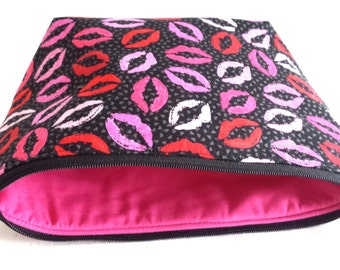 Lips fabric zippered make up pouch with pink lining. .matching accessory pouch..matching consultant bag