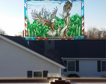 "Eagle ""Stained Glass"" Style WINDOW CLING"