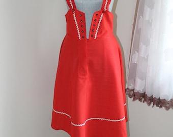 Red Waitress Uniform Dress by Ella Skinner Uniforms, Lace Up Front , Shoulder Straps, Half Bodice,  Size 12, Size 10