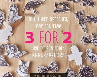 COUPON  CODE, Buy Three b&w brooches, get one of them FREE