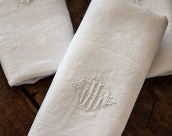 8 Vintage French Damask Napkins - Metis: Cotton and Linen - DL Monogram - Provence Chic - Free Shipping Within the USA  Ask a question