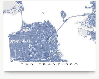 San Francisco California, San Francisco Map, San Francisco CA Art Print