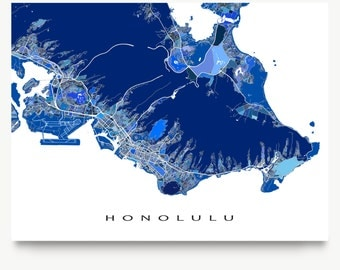 Honolulu Map Print, Honolulu Hawaii, Oahu Map Art
