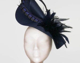 Feather fascinator blue, navy blue hat, navy wedding hat, navy fascinator, navy blue ascot hat, blue races hat, navy derby hat, feathers hat