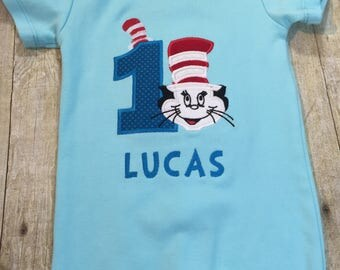 Cat in The Hat Personalized Birthday Shirt