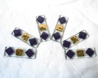 x 6 door knives collection purple and gold