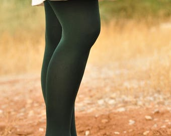 Dark Forest Green Tights - Soft - One size stretchy -Plain Color -Handmade Unique Color -  Peter Pan costume