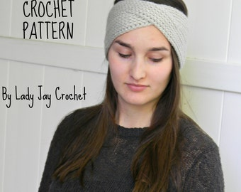 PATTERN: Goddess headband | crossover ribbed earwarmer | urban twisted headband | crochet pattern | knit headband