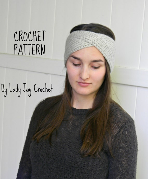 Twisted Headband Knit Pattern : PATTERN: Goddess headband crossover ribbed earwarmer urban