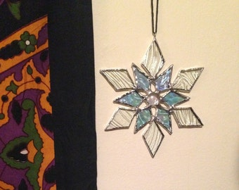 Stained Glass Snowflake, Christmas Ornament, Stained Glass Suncatcher, Christmas Decoration, Wall Hanging
