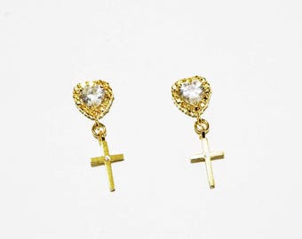 Cross My Heart 16k Gold Plated Earrings - Gold Earrings - Cross Earrings - Dangle Earrings - Heart Earrings