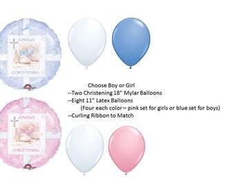 Christening Balloon Set for Boy, Christening Balloon Set for Girl