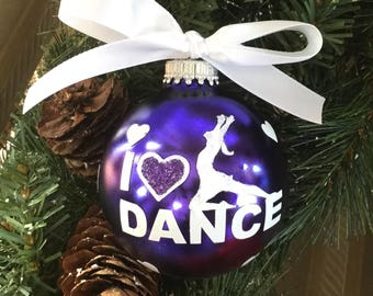 Personalized I Love Dance Glass Ornament