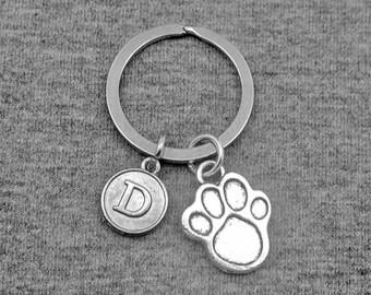 Dog Paw Keychain -Dog Lover key chain -Initial Keychain -Your Choice of A to Z