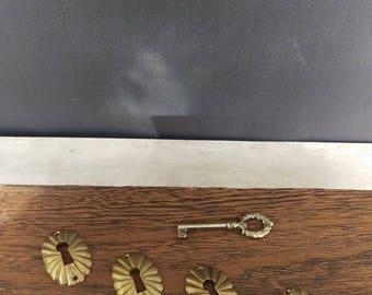 Brass Key Covers/ Brass Escutcheon Key Covers/ Brass Key Plates made in Spain/ Antique Key Plates/ Key Cover/ Key Pendant/ Vintage Brass Key