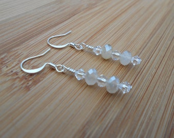 Sterling silver ivory rondelle and Swarovski crystal earrings