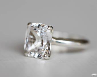 White Sapphire Ring - Diamond Alternative Engagement Ring - 7 Carat Large White Sapphire Ring - Cushion Cut White Sapphire Solitaire Ring