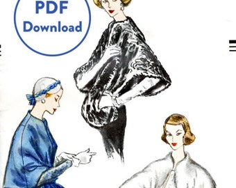 1950s 50s Vintage Sewing Pattern Cape Shawl Evening or Day Size Small Bust 30 - 32 Instant Download