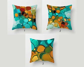 abstract pillow colorful pillow covers mix match throw pillows turquoise teal orange green - Toss Pillows
