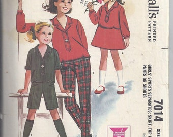 Vintage 1963 McCall's Sewing Pattern 7014:  Girl's Sports Separates - Skirt, Top and pants or shorts.   Bust 26