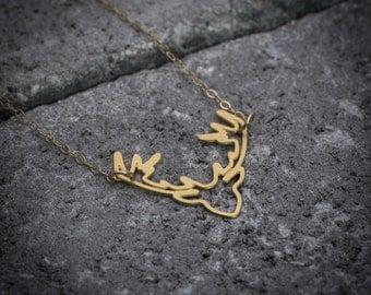 Deer necklace, animal necklace, Deer antler necklace, gift under 50, nature necklace, unique necklace, everyday necklace, gift for her.