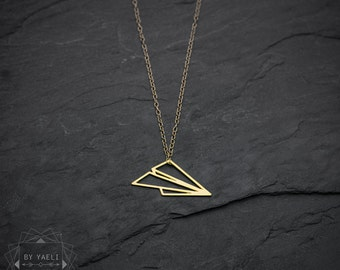 Air plane necklace, dainty necklace, origami necklace, geometric necklace, geometric paper plane necklace, gift under 50, gift for her