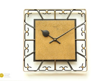 Mid Century JUNGHANS WALL CLOCK - Atomic Modern Starburst Germany mcm 60s Space Age Iron brass