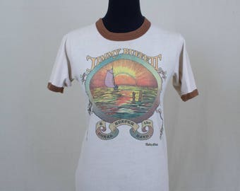 Vintage 70's Small Extra Small Jimmy Buffett Concert Tour Band Ringer T-Shirt Tee