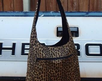 Large vintage leopard print nylon hobo over the shoulder bag, swim bag, boho bag, hobo bag, gypsy bag, bohemian bag