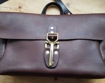 Leather Messenger Bag Handmade USPS Mail Bag Inspired With Lever Latch. E46