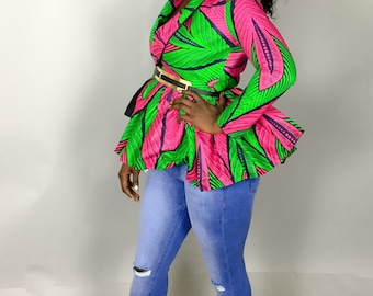 Pink and green African print cold shoulder top/blazer,African clothing,Ankara top,blazers