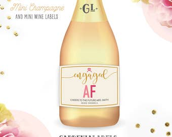 Mini Engaged AF Champagne Labels, Engagement Party Favor, Couples Shower Favors, Bride to Be Gift, Married AF, Bachelorette Party Wine Label