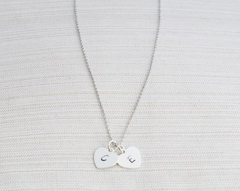 Silver Heart Initial Necklace, Initial Necklace , Heart Necklace, Personalised Jewellery, Silver Heart Necklace
