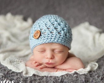 Baby Boy Hat, Ready to Ship, Crochet Baby Hat, Newborn Hat, Baby Shower Gift, Newborn Photo Prop, Baby Hat, Coming Home Hat, Children's Hat