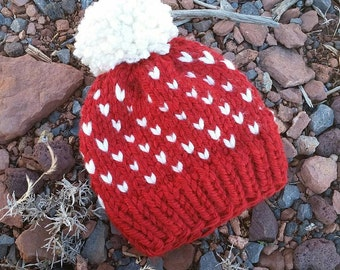 Hearts Toque, Heart Knit Hat, Knitted Fair Isle Heart Hat, Chunky Knit Hat, Knit Baby Hat, Witner Hat, Knit Hat with Pom Pom, Valentines Hat