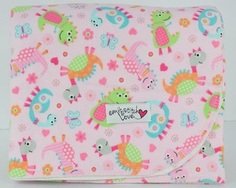 Receiving Blanket- Pink Background w/ Colorful Dionsaurs