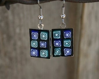 Mosaic Earrings, Millefiori, Blue and Green Earrings