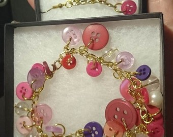 Gold Plated Pink Button and Bead Bracelet plus matching dangly Earrings - Temp Listing