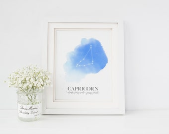 Astrology Zodiac Print | Capricorn Zodiac | January Zodiac | Horoscope Poster | December Zodiac | January Birthday | Constellation Art