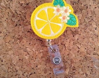 LEMON Badge Reel | Fruit ID Badge Reel | Felt Badge Reel | Retractable ID Name Holder | Nurse Badge Reel | Teacher Gift | 774