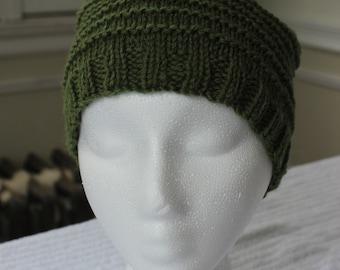 Hand-Knit Hat - Seven Ridges Road in Grassy Green