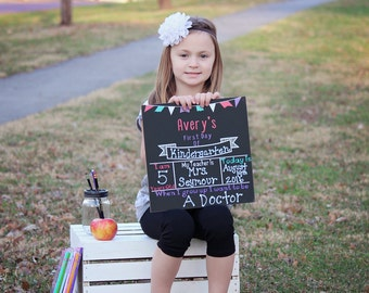 Personalized Back to School Sign- Personalized School Chalkboard- First Day of School Sign- First Day of School Chalkboard- Bright Colors