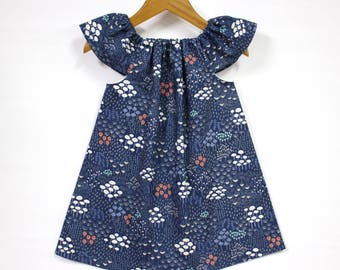 Organic cotton baby dress, baby girl dress, organic baby dresses, organic dress, organic kids clothes,organic baby, navy, Midnight Flora