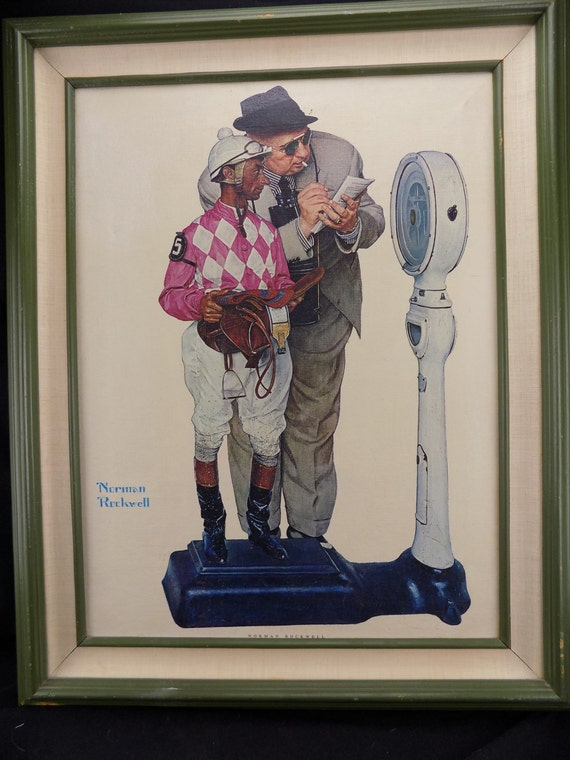 "Fine Art Print on Canvas Norman Rockwell ""Weighing In"" Framed"