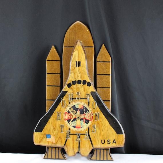Handmade Vintage Wood Space Shuttle Clock Houston Mission Control