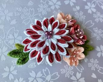Japanese Tsumami Flower - Pink & White - Hairpin/Brooch