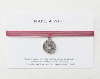 Wish bracelet, lucky coin bracelet, make a wish bracelet, W17